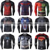 The marvel superhero spider-man superman fitness compression elastic thin tights mens sports long sleeve t shirt