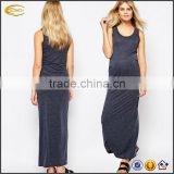 Ecoach wholesale women's sleeveless gery jersey slim fit maternity maxi dress long maternity dress for muslim