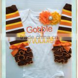 BABY girl Thanksgiving outfit White shirt Fall Outfit - Gobble 'till you Wobble - Baby girl photo outfit Thanksgiving legwarmer