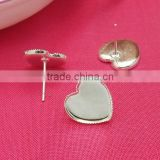 12mm Silver Plated Heart Shape Ear Studs Sawteeth Edge Blank Base Earring Tray For Cabochon Bezels Setting