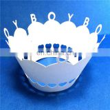 BOY word Laser Cut cupcake wrappers birthday wedding party supplies cake decoration baby shower favors