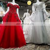 LS00394 long red dresses party elegant off shoulder lace organza ball gown long train crystal beaded