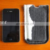 Fashion Genuine Cowskin Fur Cell Phone Pouch Pocket Case Bag Specially Designed For Iphone 4 NEW HOT!!