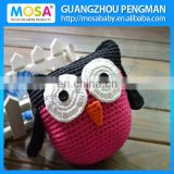 Handmade Crochet Stuffed OWL Animal Pattern Doll ,Children Crochet Toy Black Hot Pink