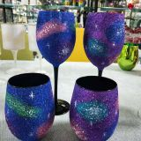 Customized different crafts colors egg shape wine glass drinking cup