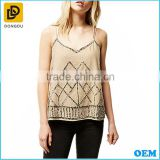 Beige sexy elegant embellished beaded linen cami sleevelss tank tops