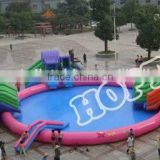 2014 Newest Commercial Adult Inflatable Water Park Games with swimming pool slider combo
