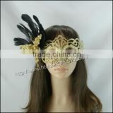 Sexy black chicken feather golden flower beads Masquerade white Party Mask