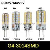 SMD 3014 G4 3W 4W 5W 6W LED Crystal lamp light DC 12V / AC 220V Silicone Body LED Bulb Chandelier 24LED,32LED,48LED,64LEDs10pcs