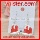 Vnistar LOW MOQ Alloy Metal Red Enamel Christmas Bell Festival Earrings Wholesale TER017