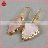 Wholesale natural amethyst rose quartz arrowhead earrings new gold model earrings