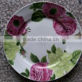 wholesale high grade ceramic dinnerware porcelain moonlight flat plate with double golden line