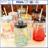 Wholesale Glass Mason Jar With Engraved Logo/Transparent Mason Jar Bottle With Metal Lid and Straw                                                                         Quality Choice