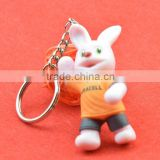 2015 promotional 3D pvc injected toy keychain, pvc toy keyring, custom pvc rabbit keychain