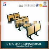 Commercial folding wood lecture hall chair with flexible writing board