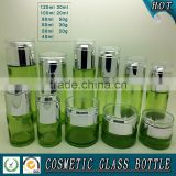 Hot saling green red colored cosmetic glass bottle and cosmetic glass jar                                                                         Quality Choice