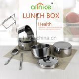 Allnice 4 layers multipurpose thermos metal stainless steel tiffin lunch box with stationary barrier
