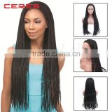 wholesale natural black 1B lace front box braided wig for black women                                                                         Quality Choice