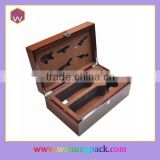 Custom Brown Piano Finishing Wooden 2 Bottle Wine Set Box For Gift
