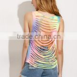Tank-Tops&Camis latest fashion design women clothing Multicolor Tie-dye Cutout Back Tank Top