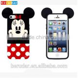 Hot selling custom 3d cute mickey mouse tpu case for iphone 5s with ears