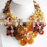 Brown Carnelian and citrine flower necklace with earrings set Gemstone Gemstone handcrafted
