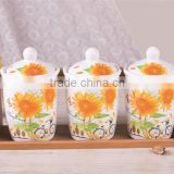 Sunflower Decal Ceramic Tea Coffee Sugar Canisters Set with Bamboo Stand