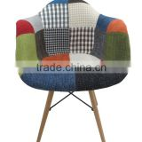 2015 NEW DESIGN modern leisure patchwork dinning fabric chairs with wood chairs