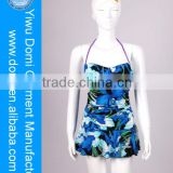 Blue floral sex bathing suit one piece swimsuit / elegant beach wear / full body swimwear women