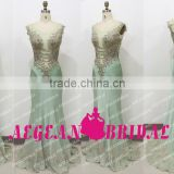 K129 Emerald Green Backless Sexy Mermaid Evening Dress With lace appliques