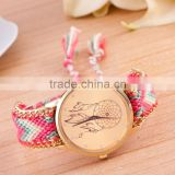 Women's Handmade Knitting Rope Chain Dreamcatcher Pattern Analog Bracelet Bangle Wrist Watch