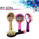 2016 My Girl curve wave round brush ,Hair Straight massage rainbow hair brush volume hair brush with mirror