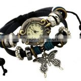 Fashion Jewelry Multilayer Genuine Leather Bronze butterfly Watch Infinity Cuff Bracelet