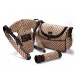 Inquiry about wholesale Gucci Diaper Bag with Baby Carrier and Baby bags whole set brown