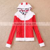 French Terry Autumn women girl hoody coat cute colorful jacket bright 2style to choose OEM wholesale
