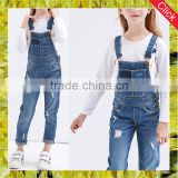 Korean style girls cotton jumpsuit kids casual ripped denim overalls fitted bib jeans pants children clothing wholesale