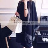 2017 China style female scarf gray and black color long style 180*120cm women muffler with tassels