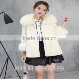 Women Rex Rabbit Fur Coat Hooded Casual Winter Coats and Jackets with Fox Fur Collar