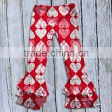 Persnickety Valentine Hearts Pattern Shirts And Pant Triple Ruffle Pants Children Clothes Sets Girls Boutique Clothing