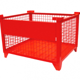 Red Pallet Storage Wire Mesh Container Galvanized With Caster