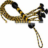HMB-513F LEATHER FLOGGER 9 O CAT BRAIDS TAILS ORANGE BLACK BULLWHIPS