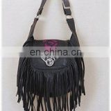 HMB-107D LEATHER BAG FRINGES PURPLE ROSE BIKER BAGS