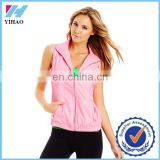Trade Assurance Yihao 2015 New Woman Sports Mesh Gym Sports Wear Uniform T shirt Tank Top Jacket