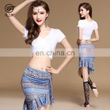 T-5174 Modal printing pattern belly dance top and skirt set