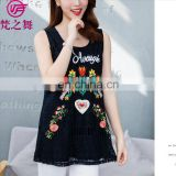 Summer fashion embroidery lady tank top