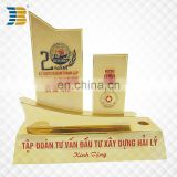 sailing ship shape custom painted gold plated trophy