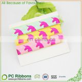 "5/8"" rose foil unicorn print foe ribbon for diy hair tie"