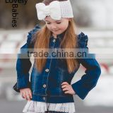 Toddler girl clothes boutique 2016 girls bule denim jeans jacket                                                                         Quality Choice
