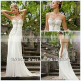 Gorgeous Sweetheart Diamante Beaded Embroidery on Delicate Chiffon Beach Wedding Dresses Patterns