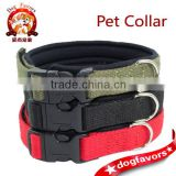Adjustable Neoprene Base Cotton Dog Collar for Small Medium Breeds 2 sizes Red Green Black